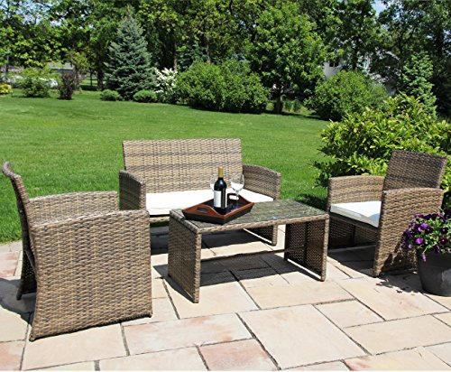 Ecolinear 4pc Rattan Sofa Cushion Seat Garden Patio Lawn Sectional Couch Wicker Furniture Set New Anti-slip Outdoor