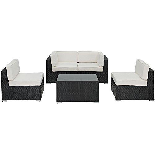Lexmod Camfora Outdoor Wicker Patio 5 Piece Sofa Set In Espresso With White Cushions