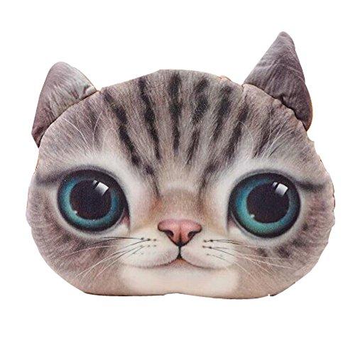 Lifejoy 3d Plush Cat Head Shape Pillow Car Sofa Chair Back Cushion