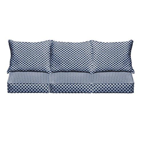 Navy Chainlink Indoor Outdoor Corded Sofa Cushion Set
