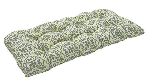 Bossima IndoorOutdoor Greengrey Damask Bench Loveseat CushionSpringSummer Seasonal Replacement Cushions