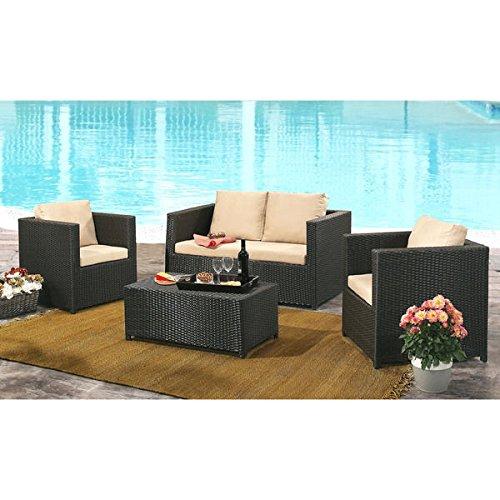 ABBYSON LIVING Colette Espresso Wicker Outdoor 4-piece Sofa Set with Cushions