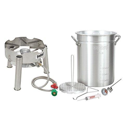 Bayou Classic Complete Deluxe Turkey Fryer Kit Aluminin Pot Low Profile SS burner