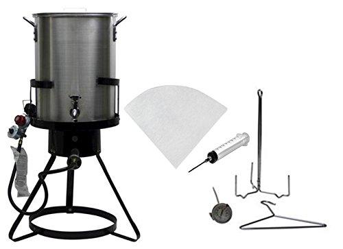 Outdoor Heavy Duty 50000 BTU Propane 30 Quart Deep Turkey Fryer with Pot Plus Injecter and Oil Filter