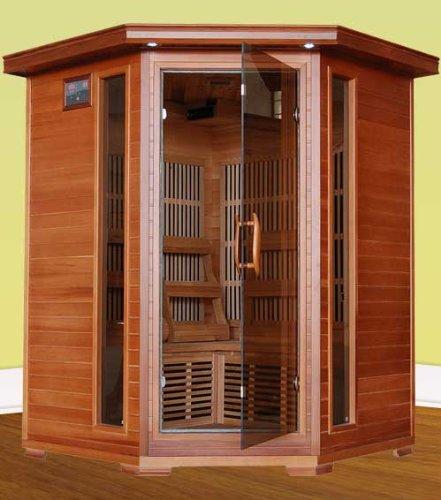 Heatwave Sa1312 Hudson Bay 3 Person Corner Unit Cedar Infrared Sauna With 7 Carbon Heaters E-z Touch Control Panel