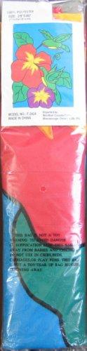 Decorative OUTDOOR FLAG Fabric w HUMMINGBIRD FLOWERS Design BANNER 28 x 40