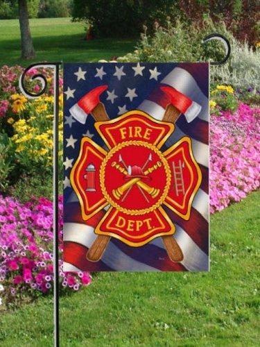 Patriotic Firefighter Garden Size Decorative Outdoor Flag Model  Home Garden Store