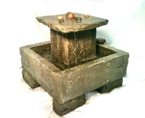 Garden Fountain Cast Stone Tuscan Tier Cascade Rock Concrete Patio Outdoor Rock Garden Water Feature
