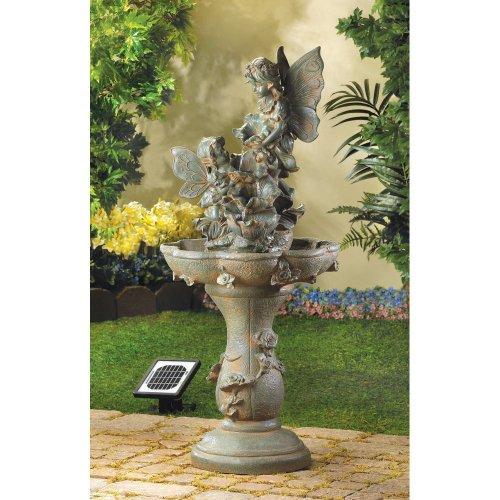 Solar Kids Fairy Statue Verdigris Outdoor Garden Bird Bath Water Fountain