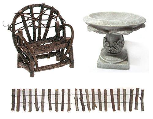 Bundle Of 3 Miniature Fairy Gardenamp Dollhouse Items - Vine Bench Log Fence And Birdbath