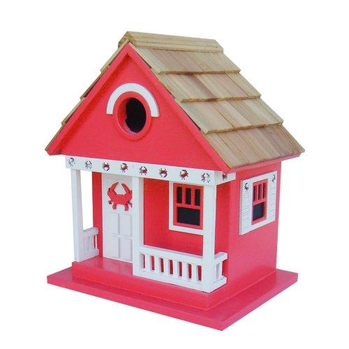 Home Bazaar Crab Cottage Birdhouse Red