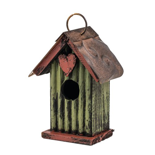 65&quot Green With Heart Hanging Rustic Style Birdhouse