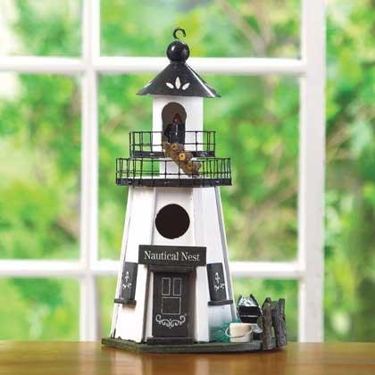 Birdhouse White Wood Pennsylvania Dutch Style Lighthouse Bird House