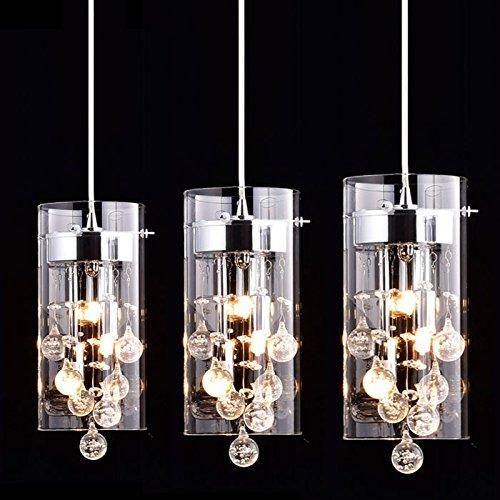 Claxy Ecopower Lighting Glassamp Crystal Pendant Lighting Modern Chandelier For Kitchen-3 Lights