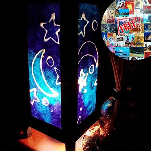 Blue Star Moon Night Table Lamp Lighting Shades Floor Desk Outdoor Touch Room Bedroom Modern Vintage Handmade Asian Oriental Wood LED Bedside Gift Art Home Garden Christmas Free Adapter Us 2 Pin Plug 126