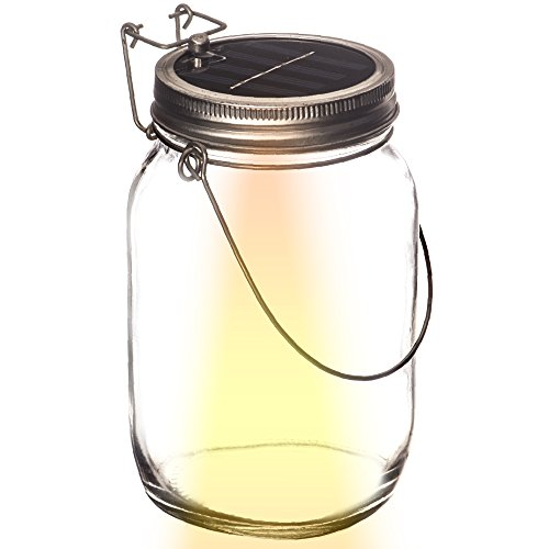 Solar Powered Light Jar By Solar Serenity - 4 LED Lights - Multipurpose Indoor Outdoor Patio Yard Driveway Garden Hanging Light Table Lantern - Relaxing Bright White
