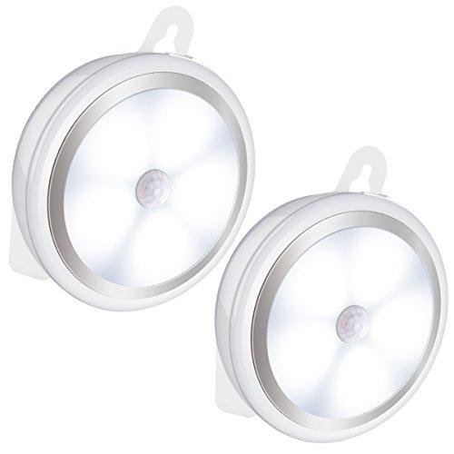 Amir Rechargeable Motion Sensor Light USB Rechargeable Motion Sensor LED Night Light Cordless Wall Light Step Light for Hallway Closet Stairs Bedroom Nursery White 2 Pack