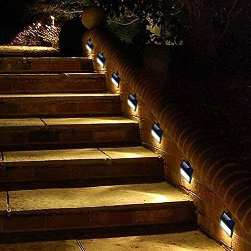 Solar Powered Wall Light 6 Pack Solar 6 LED Light Wall Mount Garden Path Lamp Step Lights Outdoor Patio Gutter Fence Lighting