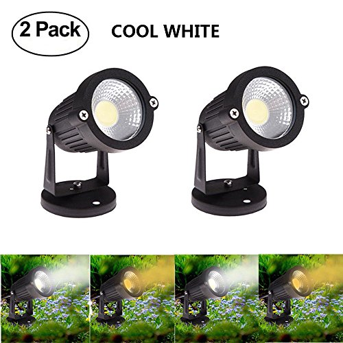 Spevert Low Voltage COB LED Waterproof Landscape Lighting Outdoor Decorative Lamp Garden Wall Yard Path Lawn Light 5W DC 12V - Cool White  2 packs