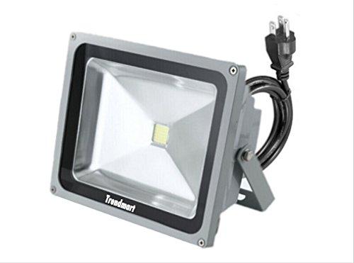 Outdoor Led Floodlight Lamp 50w Cool White with Standard 3 Pin Plug Flood Light Waterproof Ip 65 Landscape Lighting 50 Watts