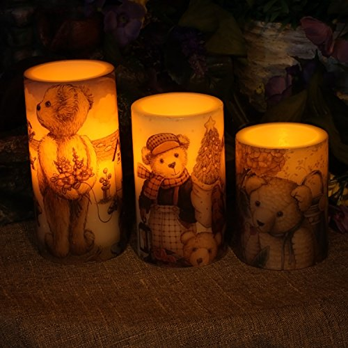 Led candles Flameless candles Lights Home Impressions Lovely Bear Decal Flameless Led Pillar Candle light for Children Birthdays gifts with TimerBattery Operated3x4inch3x5inch3x6inch