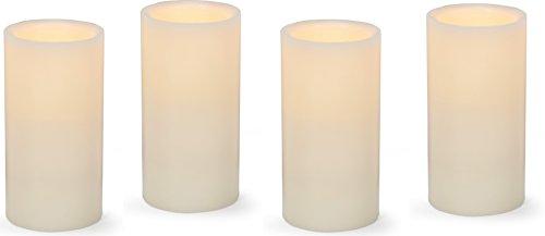 Dlight Online 6 LED Wax Pillar Candle Set of 12 Ivory