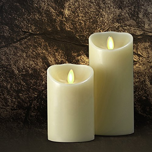 Saint Mossi Dia35&quot X 9&quot Led Flameless Scented Real Paraffin Wax Subtle Vanilla Scent Pillar Candle With Remote