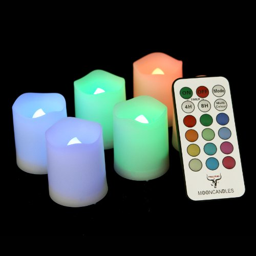 Frostfire Mooncandles - 6 Indoor and Outdoor Color Changing Votive Candles with Remote Control Timer Batteries Included