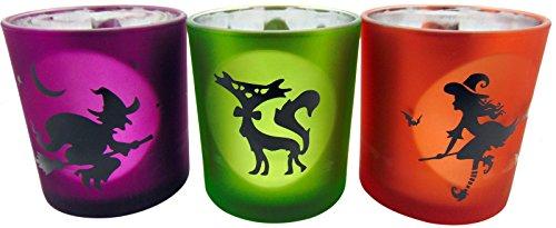 Flameless Glass Halloween Design Tealight Candle Cup