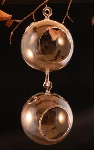 Hinterland Trading Double Hook Glass Hanging Plant Terrarium Votive Holder Each Globe 4 12&quot