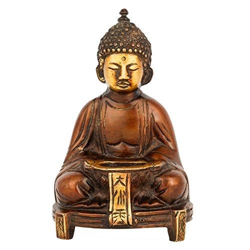 CraftVatika Buddha Statue Tealight Candle Holder Meditating Brass Sculpture Home Decor Gift