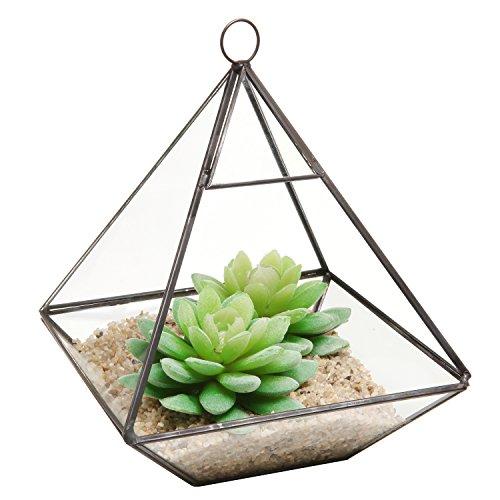 Hanging Clear Glass Prism Air Plant Terrarium  Tabletop Succulent Planter  Tea Light Candle Holder