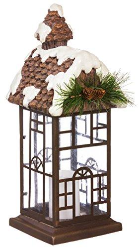 Evergreen Snowy Cottage LED Candle Lantern