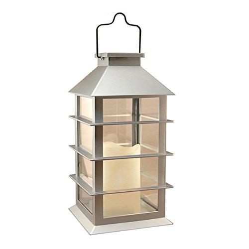 Silver Plastic Solar Powered LED Candle Lantern 94101