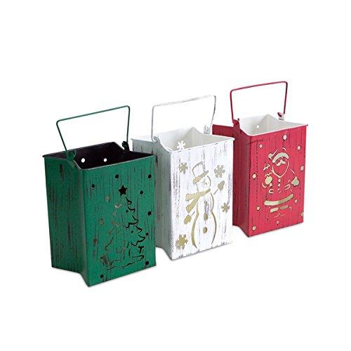 WhiteRedGreen IndoorOutdoor LED Candle Lantern Luminaries Pack of 3