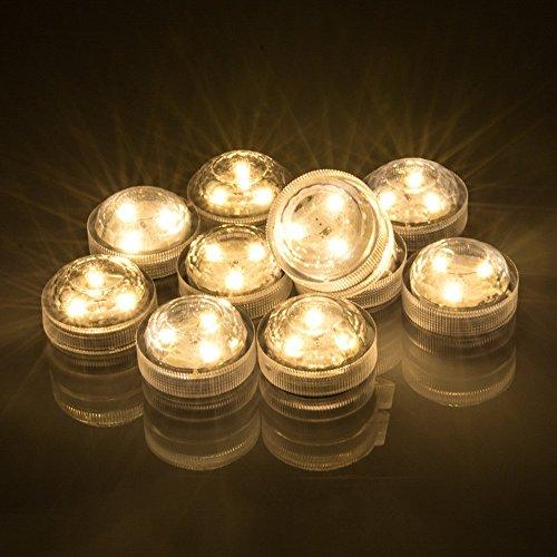 Agptek 10pcs Warm White Submersible Round Led Candle High Brightness Tea Vase Battery Light Outdoor Garden Pond