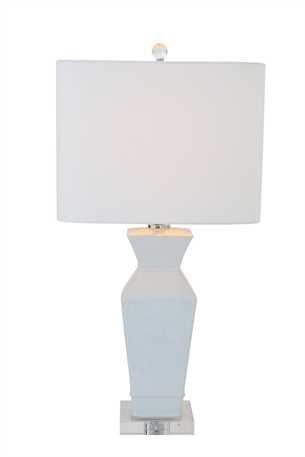 14-12 Square 28H Ceramic Table Lamp w White Linen Shade 100 Watt Bulb Maximum UL Listed