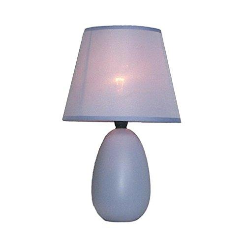 Simple Designs Small Purple Oval Ceramic Table Lamp