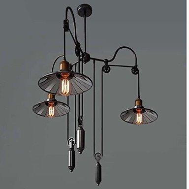 Guoxian Vintage Pully Pendant Lights 3 Light Island Light Foyer Pendants Dinning Pendants Study Room Metal Galss