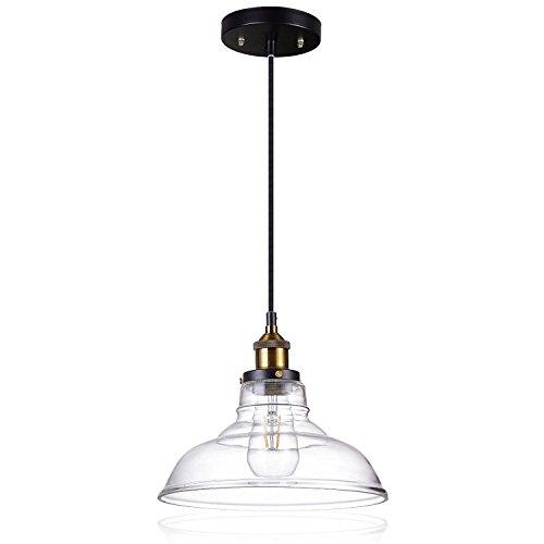 JACKYLED Glass Ceiling Light Pandent Industrial Barn Mini Edison Lamp Fixture 1 Light