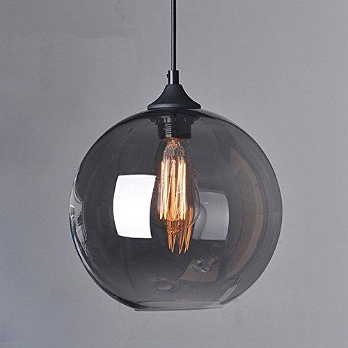 Winsoon 1pc Modern Industrial Hanging Glass Ball Ceiling Lamp Shade Pendant Light Loft Grey