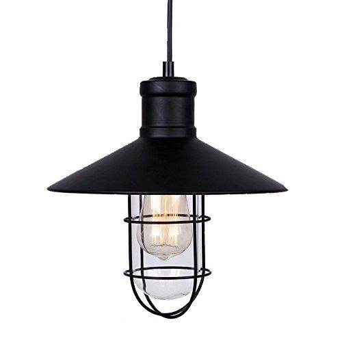 Winsoon Modern Vintage Industrial Black Metal Loft Ceiling Light Shade Pendant Light Glass And Metal Shade