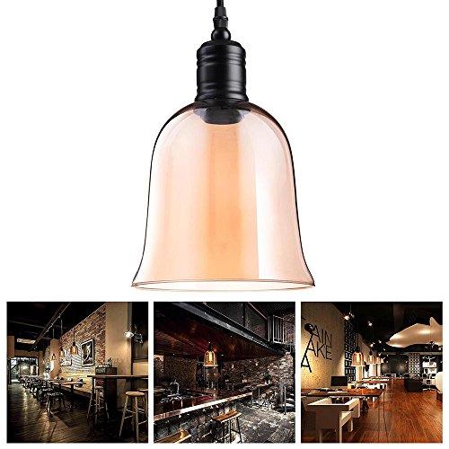 Yescom Vintage Industrial 59 Bell Shape Glass Ceiling Light Pendant Light Edison Lamp for Cafe Kitchen Amber