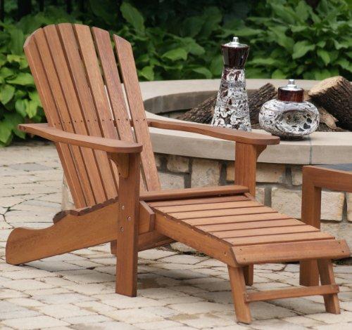 Outdoor Interiors Cd3111 Eucalyptus Adirondack Chair And Built In Ottoman