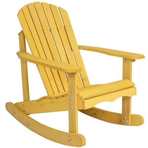 Best Choice Products Outdoor Adirondack Rocking Chair Natural Fir Wood Deck Garden Furniture