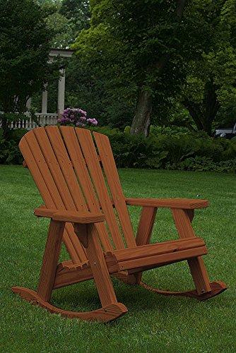 Pressure Treated Pine Fan Back Adirondack Rocker Amish Made USA- Warm Brown Stain
