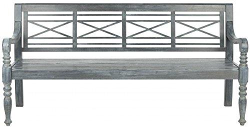 Safavieh Patio Collection Martin Adirondack Acacia Wood Bench Ash Grey