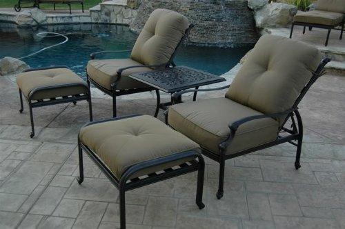 Nassau Outdoor Patio Set 5pc Adjustable Club Chairs Cast Aluminum Dark Bronze Walnut Cushions