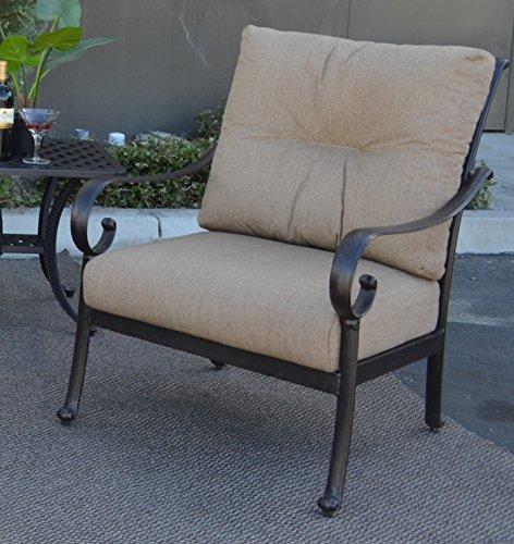 Santa Anita Outdoor Patio Set of 4 Club Chairs Dark Bronze Cast Aluminum Sunbrella Cushions