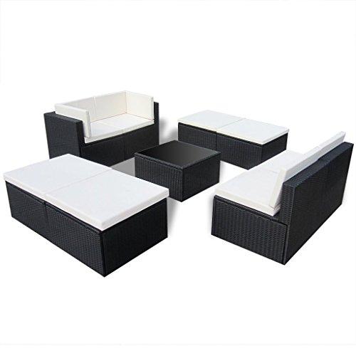 Anself 9 Piece Outdoor Patio Sofa Set Sectional Furniture Black